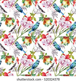 Watercolor hand drawn seamless pattern with beautiful flowers and colorful birds on white background
