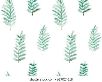 Watercolor hand drawn seamless pattern. Floral seamless pattern painted with watercolor. Hand made retro stylized seamless pattern. Sword fern seamless watercolor pattern.