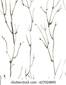 Watercolor hand drawn seamless pattern. Floral seamless pattern painted with watercolor. Hand made retro stylized seamless pattern. Twigs seamless watercolor pattern.