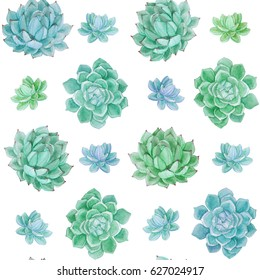 Watercolor hand drawn seamless pattern. Floral seamless pattern painted with watercolor. Hand made retro stylized seamless pattern. Succulents seamless watercolor pattern.