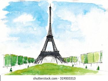 Watercolor hand drawn Sketch illustration architecture landmark of Eiffel Tower Paris art