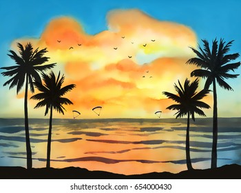 Watercolor hand drawn tropical landscape with orange sunset clouds, blue sky, birds, kitesurfers and silhouette of palms.