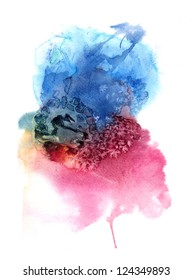 Watercolor hand painted background. Watercolor composition for scrapbook elements