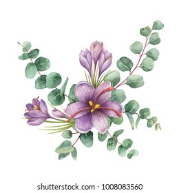 Watercolor hand painted bouquet with green eucalyptus and flowers of saffron. Healing Herbs for cards, wedding invitation, posters, greeting design isolated on white background.