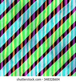 Watercolor hand painted brush strokes, green, blue and purple striped background, Abstract bright colorful watercolor background, Checkered pattern