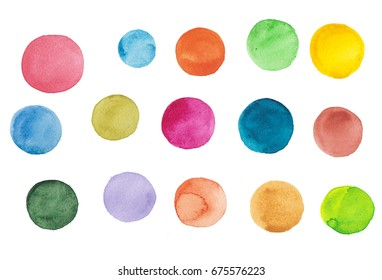 Watercolor hand painted circle shape design elements high resolution easy to use different colors