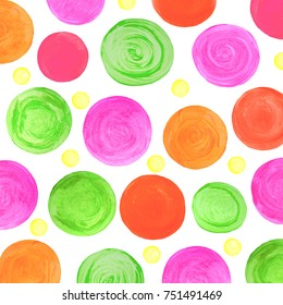 Watercolor hand painted circles. Abstract watercolor texture isolated on white. Colorful watercolor design elements. Bright color illustration.
