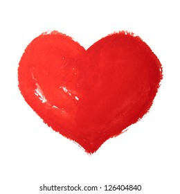 Watercolor hand painted red heart