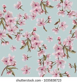 Watercolor hand painted sakura blooms and wreaths pattern on blue background