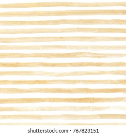 Watercolor hand painted seamless pattern, golden stripes on white, nice glossy background, good backdrop for festive design, lettering, Christmas or new year greeting card template, banner.