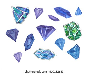 Watercolor hand painted set of bright colorful diamonds.
