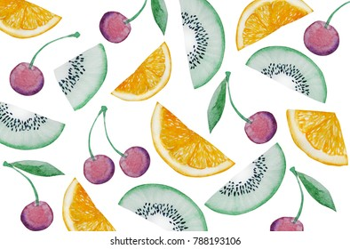 Watercolor hand painting of sliced orange and kiwi fruit, and fresh cherry isolated on white background