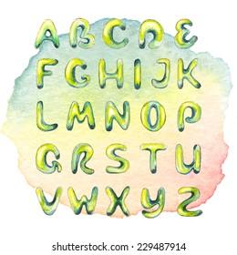 Watercolor handdrawn alphabet on watercolor multicolored spot
