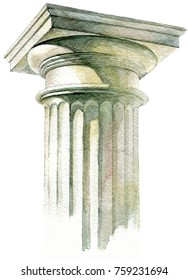 Watercolor handmade drawing capitals of the marble column of the Parthenon