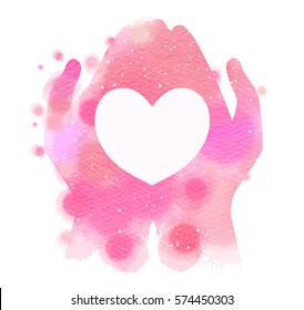 Watercolor hands giving white heart. Digital art painting.