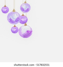 watercolor hanging violet Christmas balls with golden threads