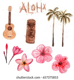 Watercolor Hawaii set isolated on white background. Ukulele, tiki, palm, flowers