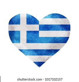 Watercolor heart flag background. Greece