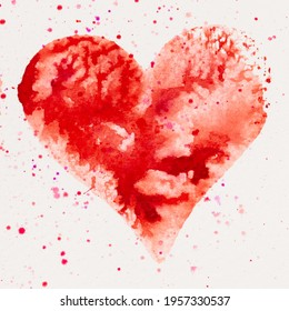 Watercolor heart. Valentines day Greating card, love, relationship, art, painting. - Shutterstock ID 1957330537