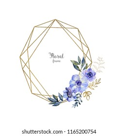 Watercolor herbarium frame with flowers. Art card with blue anemone and golden borders. Autumn, summer and spring seasons. Wash drawing illustration.