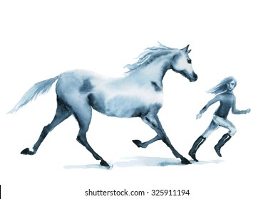 Watercolor horse and girl running on the field. Beautiful hand drawing illustration on white.