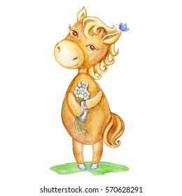 Watercolor horse hand drawn kid cartoon animal, domestic cute foal with flowers standing isolated on white background, Character design for greeting card, children invitation, creation of alphabet