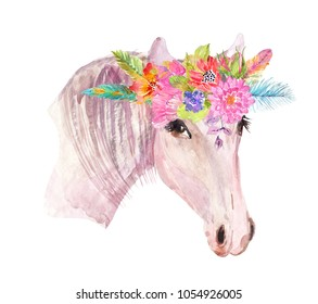 Watercolor horse head with floral wreath over white, beautiful boho style art