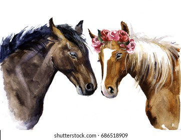 watercolor horses with flowers. Cute horses with love