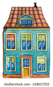 Watercolor house with cat. Hand drawn illustration.