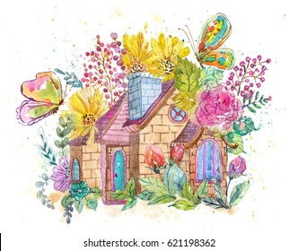 Watercolor house and flowers for beautiful design
