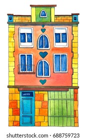Watercolor house. Hand drawn illustration.