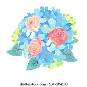 Watercolor Hydrangea Bouquet