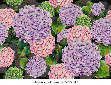 Watercolor hydrangeas pattern on a dark grey blue background