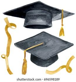 Watercolor illustration of Academic student graduation celebration uniform cap. University hat in black ink isolated on white background.