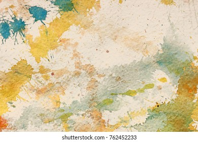 Watercolor illustration background with red, yellow and blue color