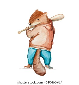 Watercolor illustration. Beaver in a jacket and pants plays baseball.