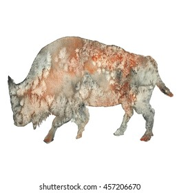 Watercolor illustration of a bison silhouette  isolated on a white background