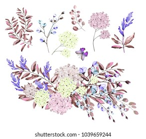 Watercolor illustration.  Botanical collection. Set of wild and garden herbs. Flowers, leaves, branches and other natural elements. Bouquets of blue, pink and white flowers.