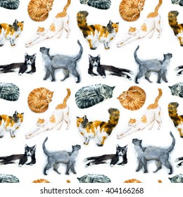 watercolor illustration of a cat seamless pattern with cats, sleeping cat