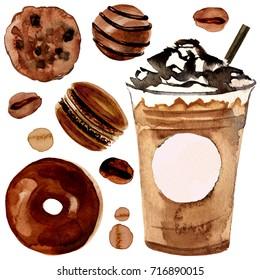 Watercolor illustration of chocolate dessert set with latte mocha take away. Whipped cream espresso to go with macaroon, cookie sweets and donut isolated on white background