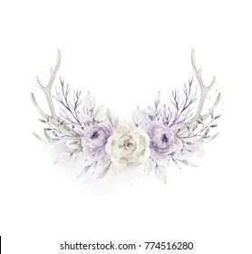 Watercolor illustration. Composition of flowers and horns in gentle pastel colors. Bouquet. Element for design