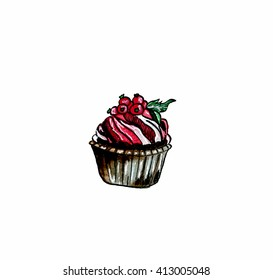 Watercolor illustration of cupcake with berries