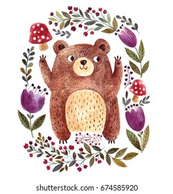 Watercolor illustration with cute bear