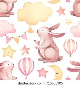 A watercolor illustration of the cute bunny. Seamless pattern