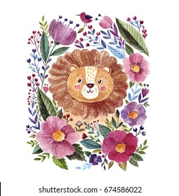 Watercolor illustration with cute lion