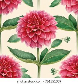 Watercolor illustration of dahlia flowers. Seamless pattern