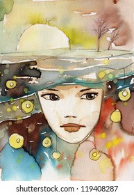 watercolor illustration to depict the portrait of a young girl's fancy.
