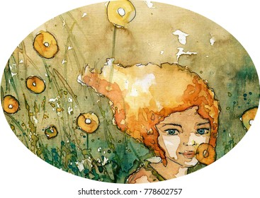 Watercolor illustration depicting a  beautiful woman portrait.