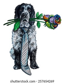 watercolor illustration of a dog cocker spaniel with a bouquet of colored roses on a white background