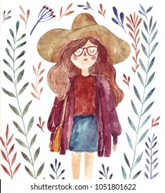 Watercolor illustration with fashion girl in hat